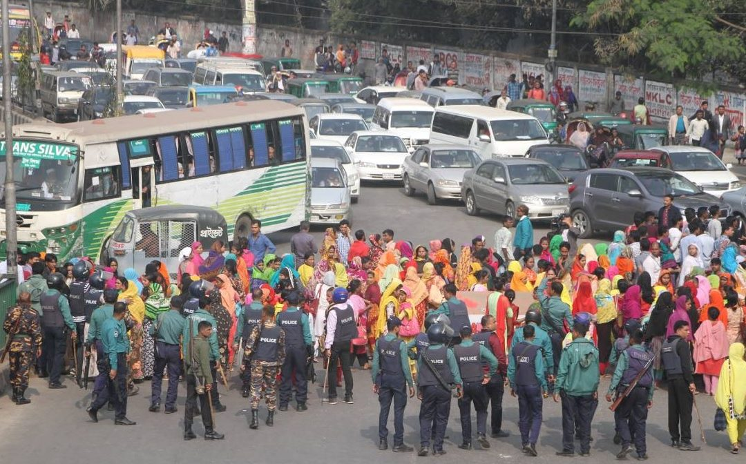 Unrest in RMG sector, Workers-Police Clash, Road Blocked in Dhaka