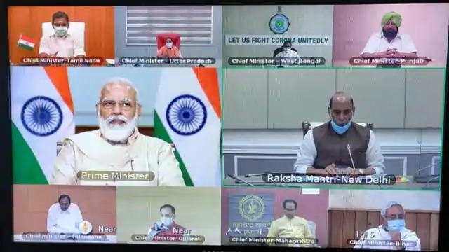 PM Modi is meeting with the Chief Ministers on Corona to review the situation